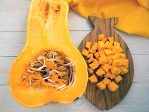 Winter squash on the fish shaped board