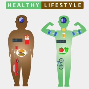 Healthy lifestyle infographics. Compare of fat and slim man silhouettes. Color flat illustration
