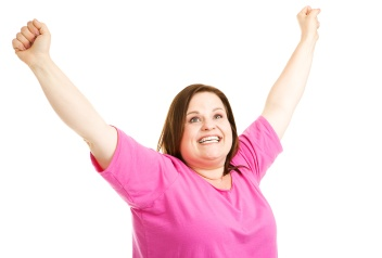 Overweight Woman is Overjoyed