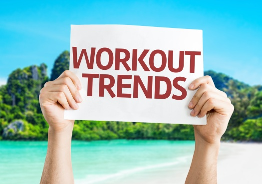 Workout Trends card with a beach on background