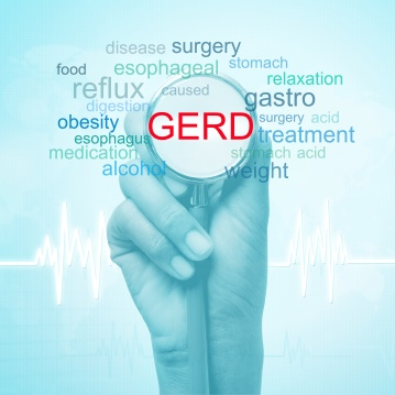 hand holding stethoscope with GERD word. medical concept